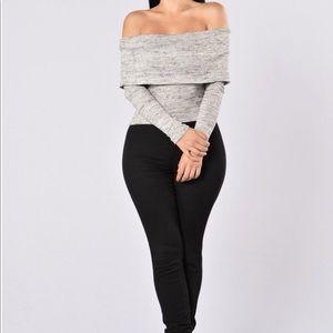 Off shoulder Gray Sweater Fashion Nova